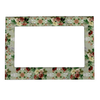 Red Roses on Green Magnetic Picture Frame