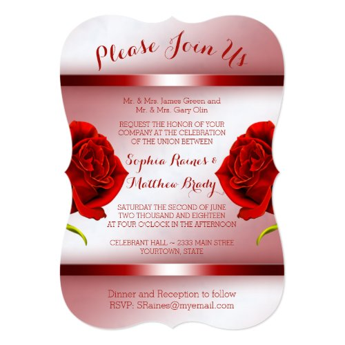 Red Roses on Marble Invitation