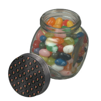 Red Roses on Polka Dots Jelly Belly Candy Jar