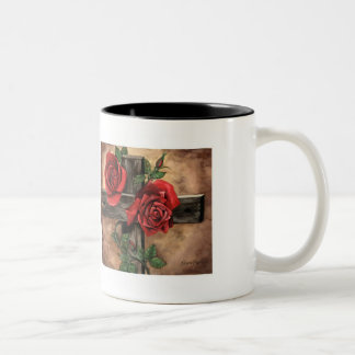 Red Roses on the Cross Two-Tone Coffee Mug