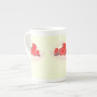 Red Roses on Vintage Cream Bone China Mug Tea Cup