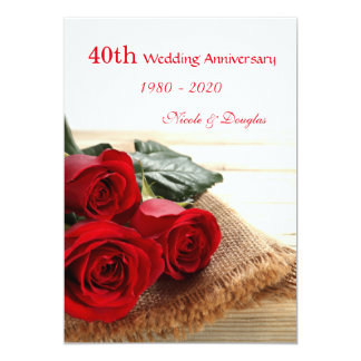 Red roses on wood 40th Wedding Anniversary Invite