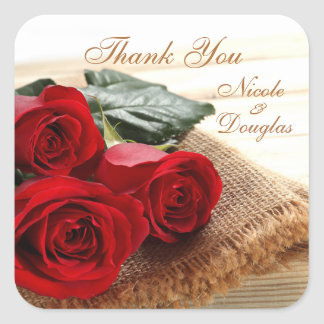 Red roses on wood Wedding Thank you Sticker