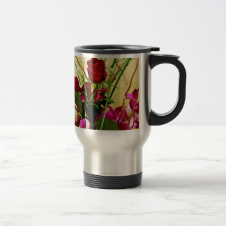 Red Roses & Orchids_ 15 Oz Stainless Steel Travel Mug