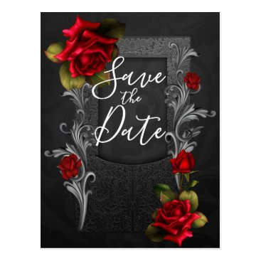 Halloween Themed Red Roses Ornate Gothic Wedding Save the Date Postcard