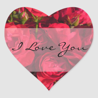 Red Roses Painting I Love You Heart Sticker