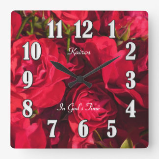Red Roses Painting Kairos In God's Time Wall Clock