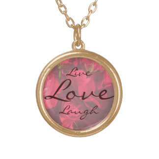 Red Roses Painting Live Laugh Love Necklace
