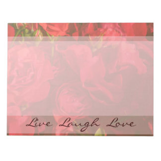 Red Roses Painting Live Laugh Love Notepad