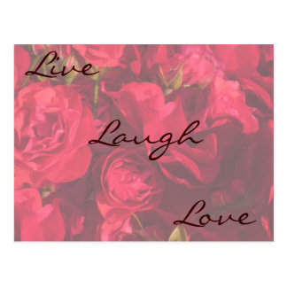 Red Roses Painting Live Laugh Love Postcard