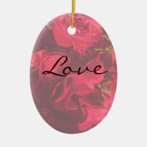 Red Roses Painting Love Christmas Ornament