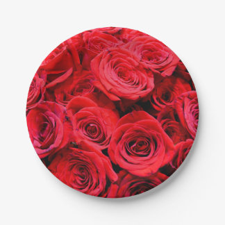 Red Roses Paper Plate