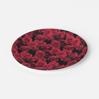 Red Roses Paper Plates