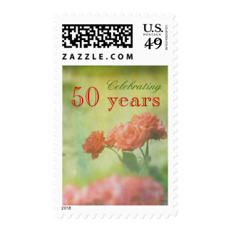 Red Roses Paper Texture Paint Splatters Lake Postage