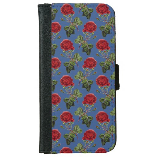 Red Roses Pattern on Blue iPhone 6/6s Wallet Case
