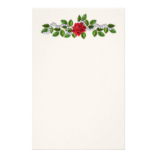 Red roses, pearls and leaves Stationery