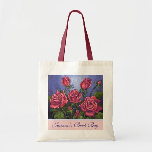 Red Roses Personalize Book Bag