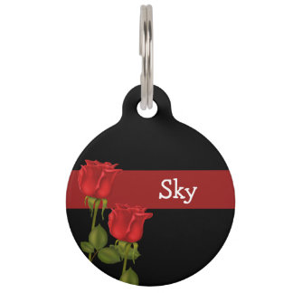 Red Roses Pet Tag