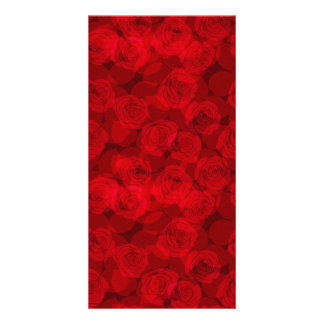 Red roses personalized photo card