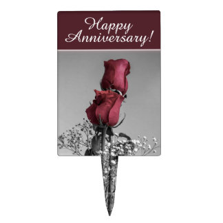 Red Roses Photograph | Happy Anniversary Cake Topper
