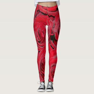 Red Roses Photography Floral Rose Flower Leggings