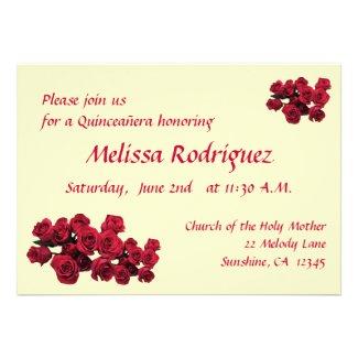 Red Roses Quinceañera Invites