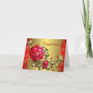 Red roses thank you cards