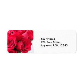 Red Roses Return Address Labels
