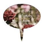 Red Roses Romantic Garden Oval Cake Pick