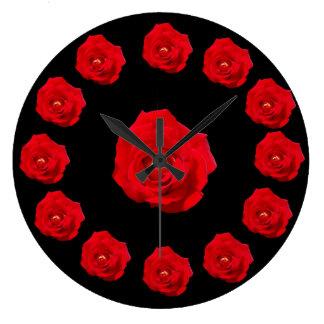 Red Roses Round Wallclocks