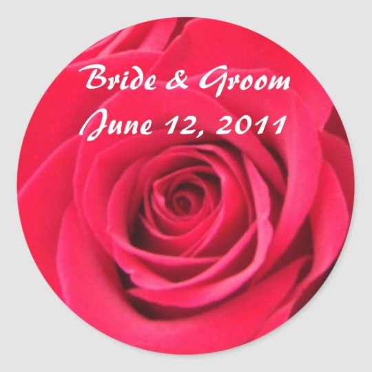 Red Roses Round Wedding Stickers