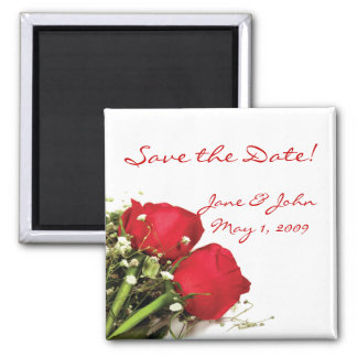Red Roses Save the Date Magnet