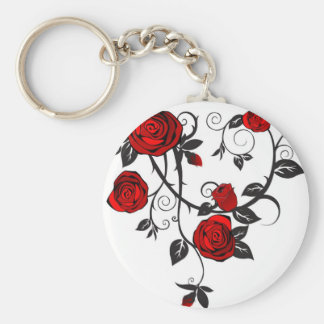 Red Roses Scrolling Vine Keychains