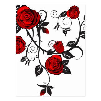 Red Roses Scrolling Vine Postcard