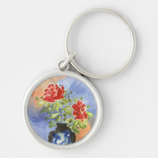 Red Roses Silver-Colored Round Keychain