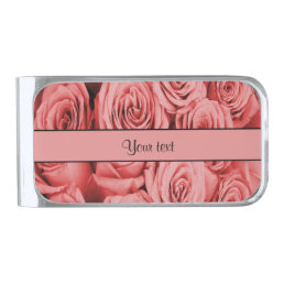 Red Roses Silver Finish Money Clip