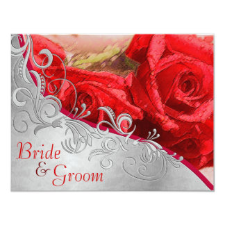 Red Roses & Silver - Flat 2 sided Wedding Invite