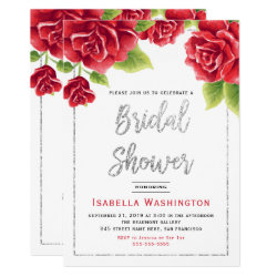 Red Roses & Silver Glitter Bridal Shower Card