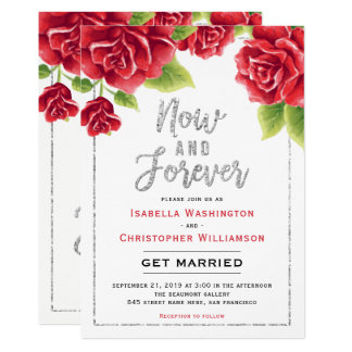Red Roses & Silver Glitter Now and Forever Wedding Card