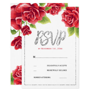 Red Roses & Silver Glitter Wedding RSVP Card