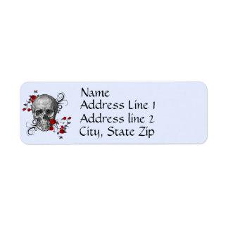 Red Roses Skull Address Label