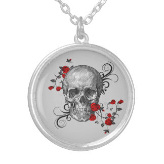 Red Roses Skull Necklace