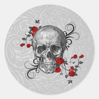 Red Roses Skull Sticker