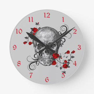 Red Roses Skull Wall Clock