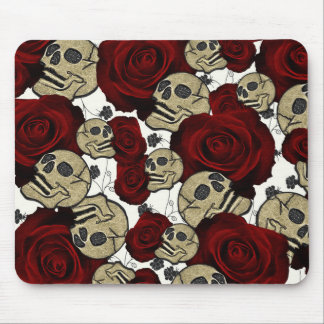 Red Roses & Skulls Black Floral Gothic White Mouse Pad