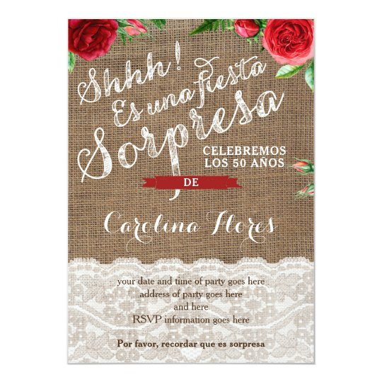 Red Roses Spanish Surprise Birthday Party Invitation
