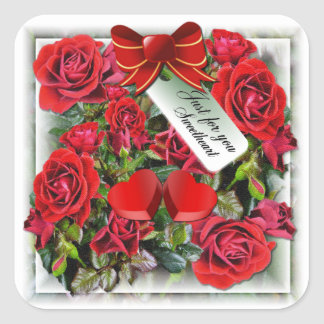 Red Roses ~ Square Sticker # 2