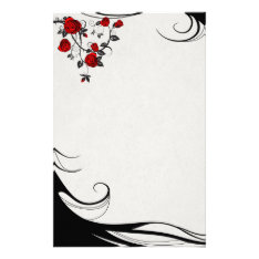 Red Roses Stationery at Zazzle