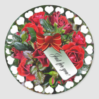 Red Roses ~ Sticker/Envelope Sealer Classic Round Sticker