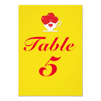 Red Roses Tea Cup Yellow Party Table Number Card